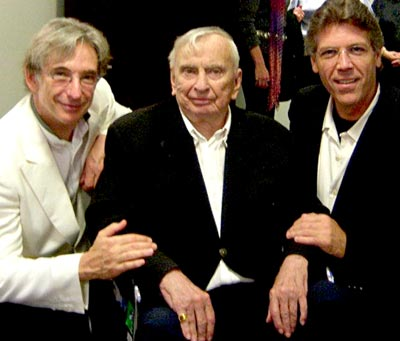 Gore Vidal flanked by Michael Tilson Thomas, left, and Hampson