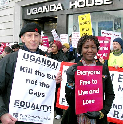 Peter Tatchell pictured with protesters outside Uganda House on December 10, Human Rights Day