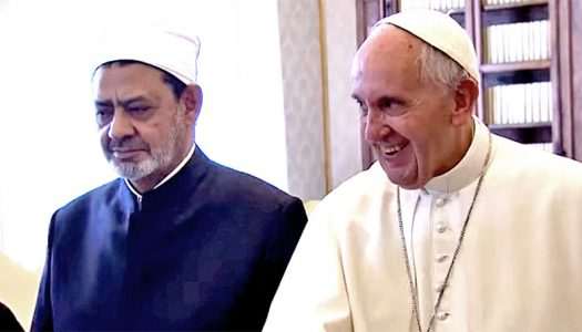 Pope condemns persecution of gays, then warmly embraces Muslim hate preacher